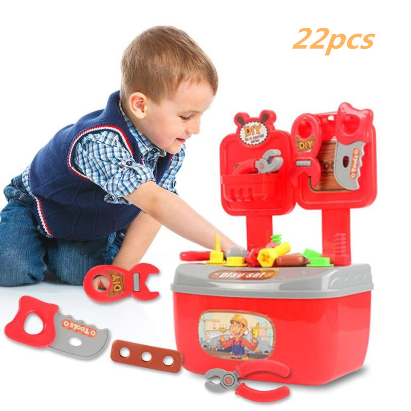 22pcs Kids Toolbox Educational Toys Simulation Repair Tools Toys Pretend Play Game Learning Engineering Puzzle Toy Gift For Boy