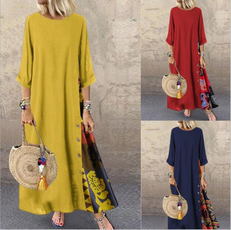 US $12.25 35% OFF|Long linen Dress Summer Women Evening Party Maxi Autumn  Winter Vintage Plus Size Dress Female Women Red Black Blue vestido Linen-in  ...