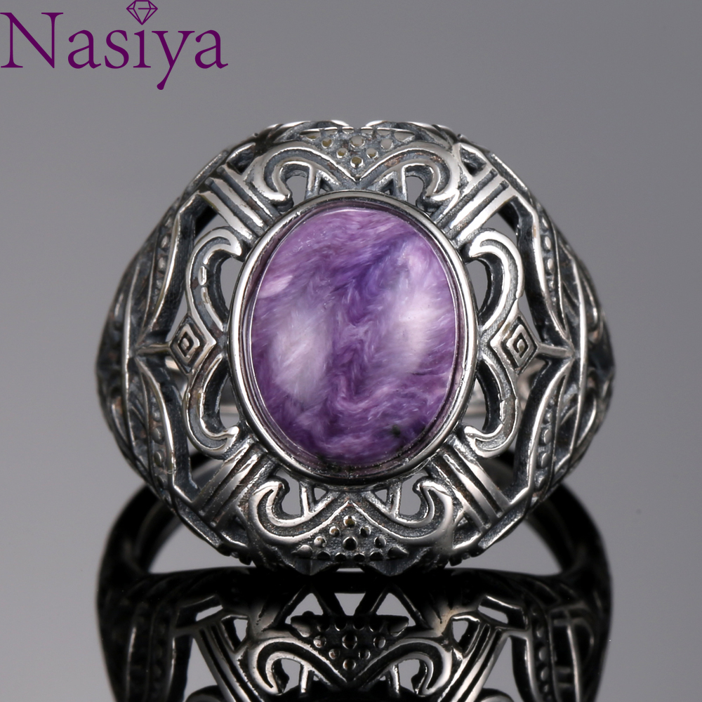 Bohemian Style 8*10mm Natural Stone Ring Charoite Silver Rings For Women Vintage Jewelry For Anniversary Wedding Bands