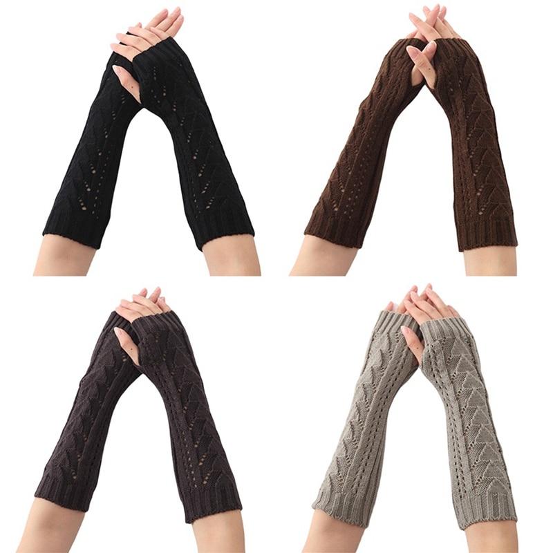 Autumn Winter Women Knit Gloves Arm Wrist Sleeve Hand Triangular Stitching Hollow Long Half Winter Mittens Fingerless Gloves