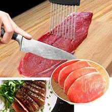 Lebensmittel Scheibe Assistent Halter Schneiden Gadgets küche Utensil Edelstahl 10 Zinken Nicht-Slip Griff Gemüse Rack Fleisch Slicer
