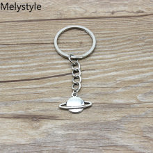 2019 Saturn-shape Key Chain Keychain Jewelry Silver rocket spaceship-alien-UFO planet spark Pendant(China)