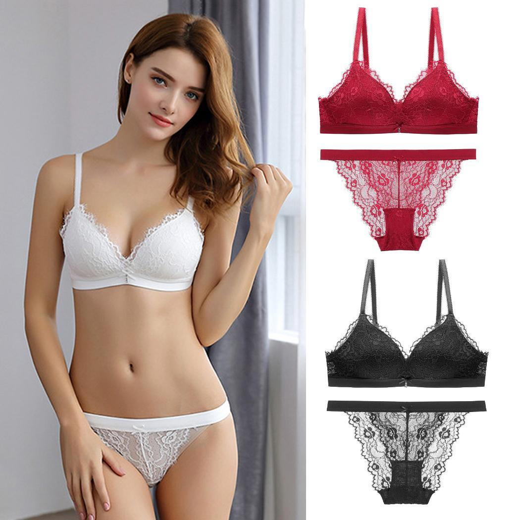 Women Fashion V Neck Push Up Bra Solid Low Briefs Back Wireless Lace Underwear All Seasons Normal Strap Set