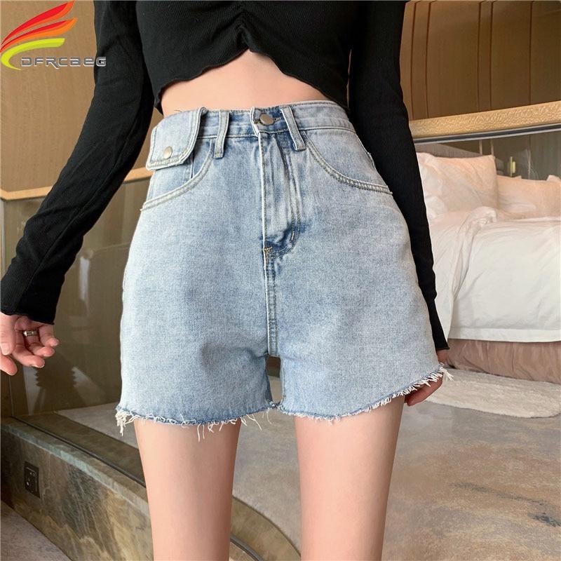 Женские джинсовые шорты с кисточками, повседневные однотонные синие джинсовые шорты с высокой талией, лето 2020 Шорты      АлиЭкспресс