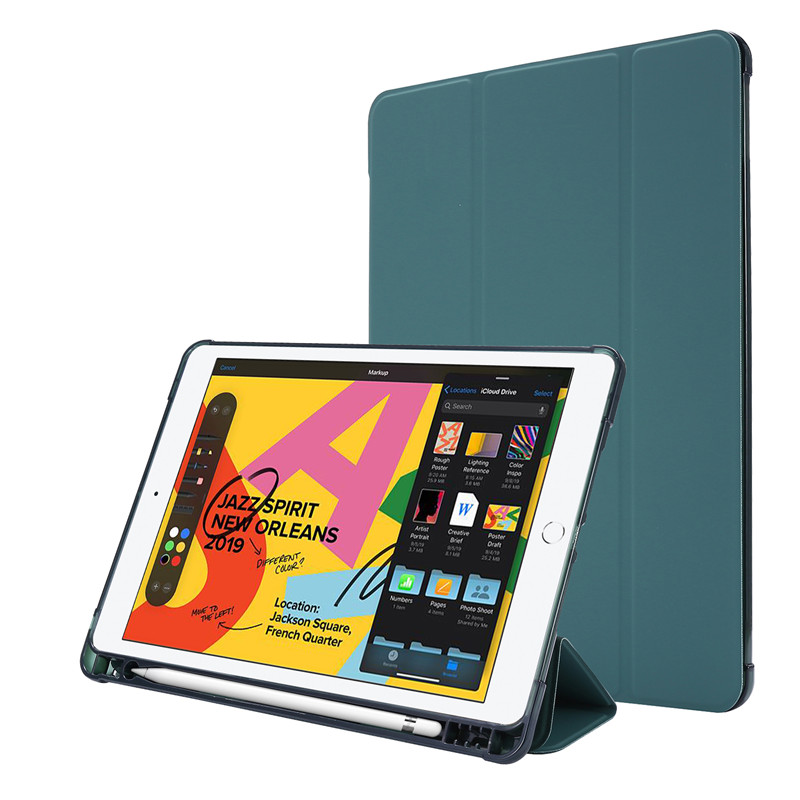 dark green Blue For iPad Case 7th Generation Flip Stand Protective Case with Pencil Holder Smart Cover For iPad