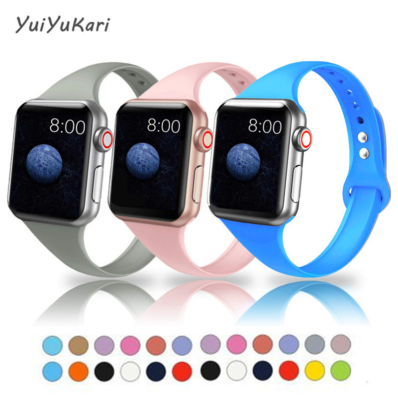 Slim Bands For Apple Watch Band 4 44mm 40mm (iwatch 5) Applewatch 3 2 1 Strap 42mm 38mm Silicone Wrist Belt Accessories