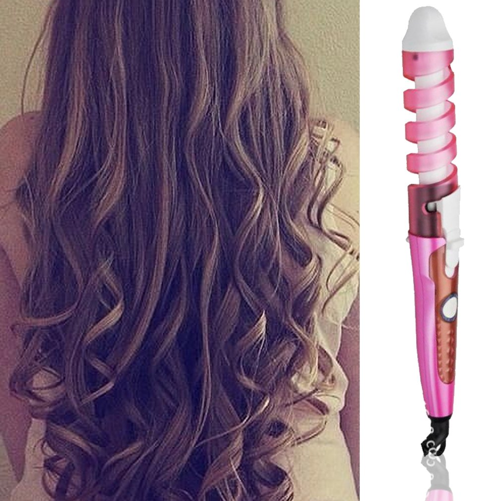 EU Plug Spiral Automatic Curling Iron Pear Flower Head Anti-Scald Electric Curling Machine ABS Portable Hair Curling Rod