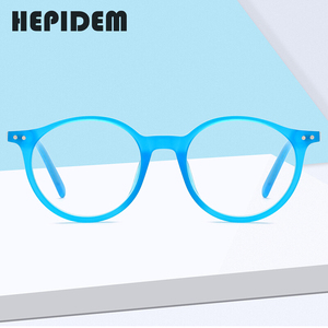 Image 1 - Hepidem acetato óculos ópticos quadro feminino 2020 vintage redondo óculos de miopia prescrição nerd óculos 9116