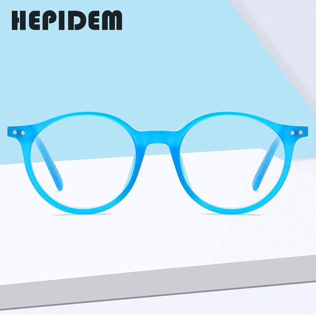 Hepidem acetato óculos ópticos quadro feminino 2020 vintage redondo óculos de miopia prescrição nerd óculos 9116