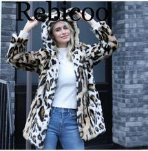 Hot Autumn Womens Fashion Leopard Print Hooded Faux Mink Fur Coats High Quality Winter Warm Femlae Rabbit Leather Jacket