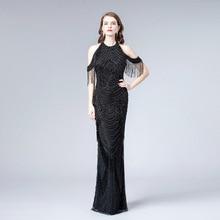 YQLNNE Amazing Black Rhinestones Evening Dress In Stock Long Tassels Pageant Dresses Mermaid Gowns Robe de Soiree