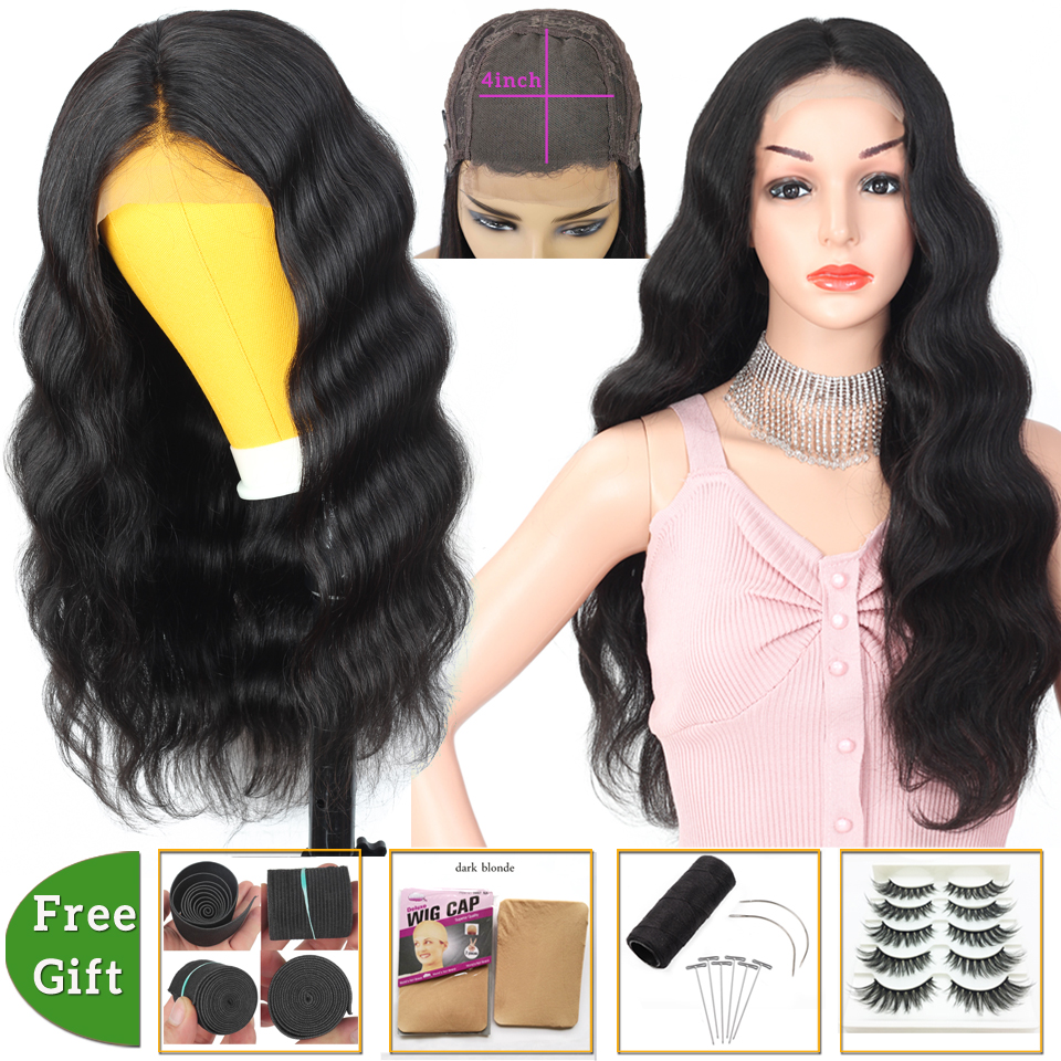 Brazilian hair wigs body wave wig 4x4 lace closure wig Human Hair Wigs for black women lace front wigs non-remy 150% Density