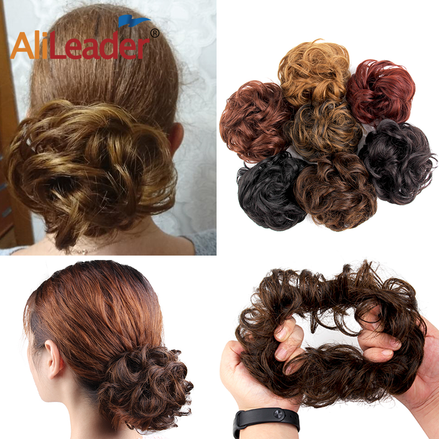 AliLeader 2pcs Afro curly Chingon Half Up Messy Bun Hair Scrunchies Donut Chignon Hairpiece For Women Hair Extension Synthetic