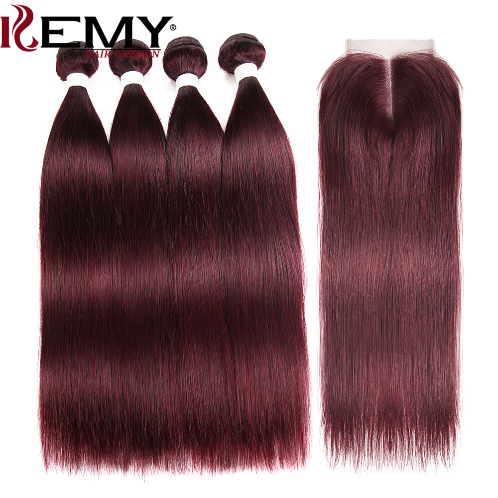 99J/Burgundy Brazilian Straight Human Hair Bundles With Closure 4x4 KEMY HAIR 4PCS Pre-Colored 100% Human Hair Weaving Non-Remy