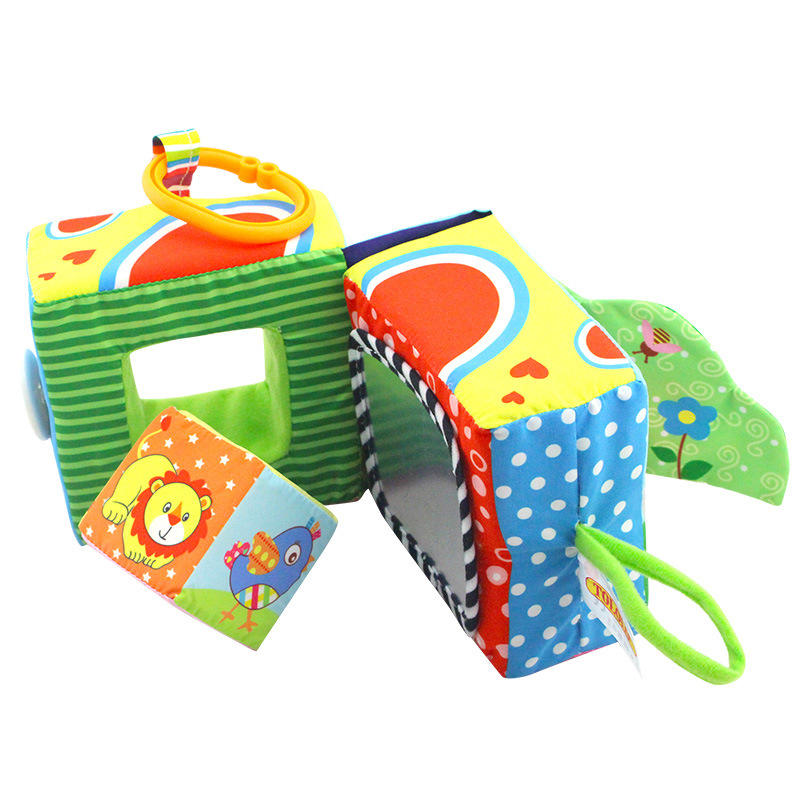 Baby Mobile Baby Plush Toy Fabric Soft Block Clutch Magic Cube Rattles Early Newborn Baby Educational Toys 0-24 Months