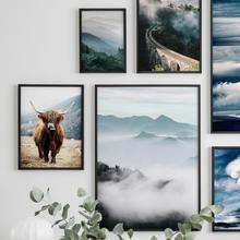 Скандинавский Як плакат Пальмовая стена искусство природа пейзаж