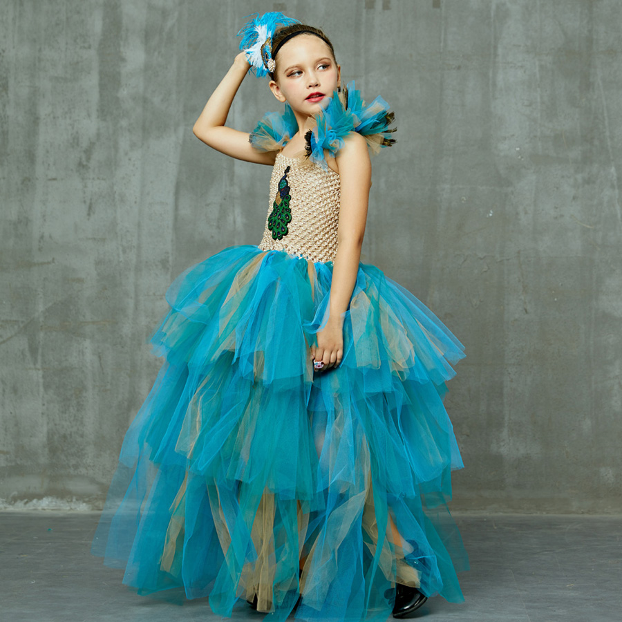 LIMITED EDITION Luxury Girls Peacock Tutu Dress with Matching Headband Multi-layer Kids Pageant Tulle Ball Gowns Peacock Costume (1)