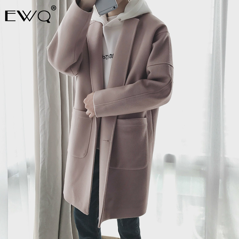 EWQ 2019 New Autumn Winter Men Wool Coat Casual Mid length Turn  down Collar Coats Fashion Overcoat Windbreaker Jackets HD563Wool