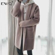 EWQ 2019 New Autumn Winter Men Wool Coat Casual Mid length Turn down Collar Coats Fashion Overcoat Windbreaker Jackets HD563