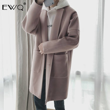 EWQ 2019 New Autumn Winter Men Wool Coat Casual Mid-length Turn-down C