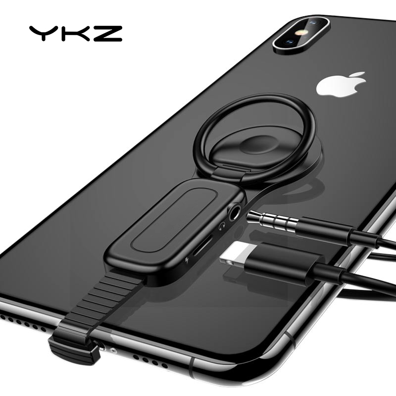 2 In 1 Lightning To 3.5mm Adapter For IPhone 11 X Adapter YKZ OTG Audio Adapter Phone Holder For IPhone Charger Adapter Mini OTG