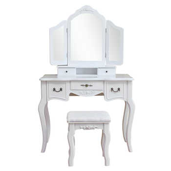 European Style Woman Makeup Dressers Bedroom Tri-fold Mirror Dresser With Dressing Stool White Chair Set MDF Dressing Table - Category 🛒 Furniture