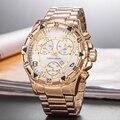 Luxe Merk Mannen Horloge Gouden Wijzerplaat met Roestvrij Stalen Band Ontwerp Mannen aaa Horloge reloj deportivo hombre