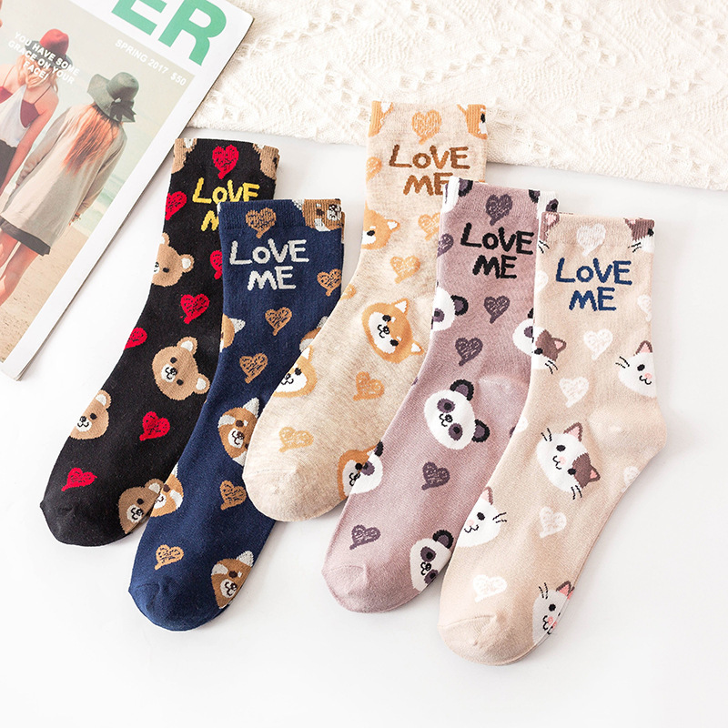 Women Lovely Cartoon Animal Patterned Socks Cute Original Casual Cotton Socks For Female College Style Joker Comfortable Sox