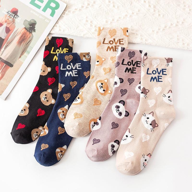 Women Lovely Cartoon Animal Patterned Socks Cute Original Casual Cotton Socks For Female College Style Joker Comfortable Sox
