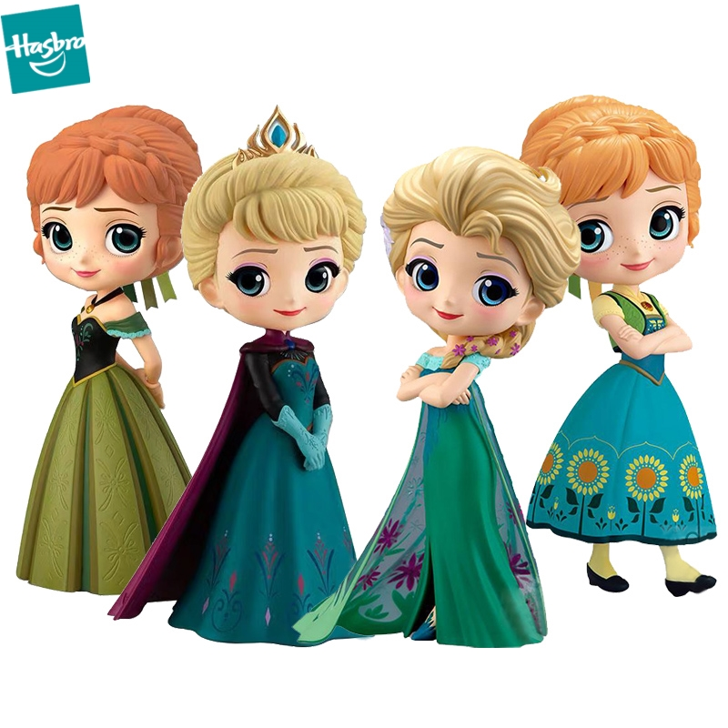 Q Posket Frozen 2 Princess Snow Elsa & Anna PVC Anime Dolls Figures Collectible Model Kid Toys Qposket Gift