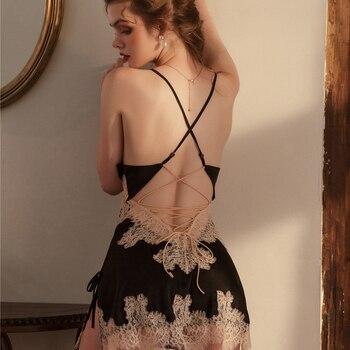 Beauty Back-Camisón de seda con encaje bordado para mujer, vestido de noche con cuello en V, lencería Sexy, vestido de tirantes con la espalda al descubierto