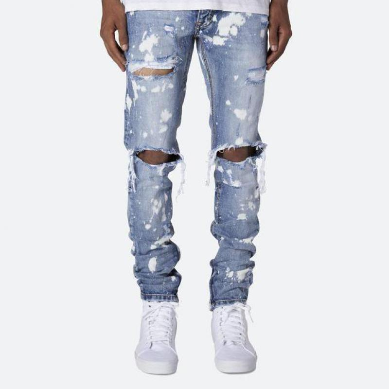 Men's Fashion Trend Jeans New Hole High-end Casual Trousers Paint Feet Pants
