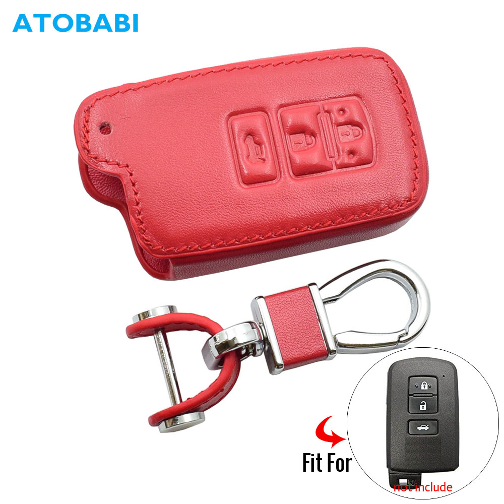 Leather Car Key Case For Toyota Camry Avalon RAV4 2013 2014 2015 3 Buttons Keyless Remote Smart Key Protector Cover Keychain Bag