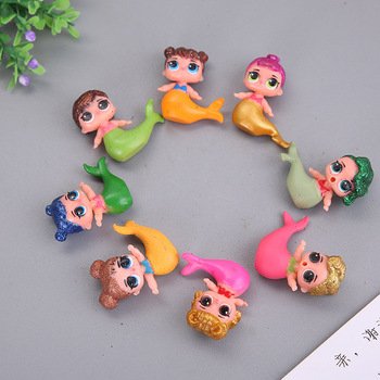 8PCS LOL surprise doll Mermaid anime toy cake decoration ornaments Action Figures Anime For kids Birthday Christmas Gifts 2C07