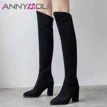 ANNYMOLI Winter Thigh High Boots Women Patent Leather Thick Heel Over the Knee Zip Pointed Toe Shoes Lady Fall 34-39