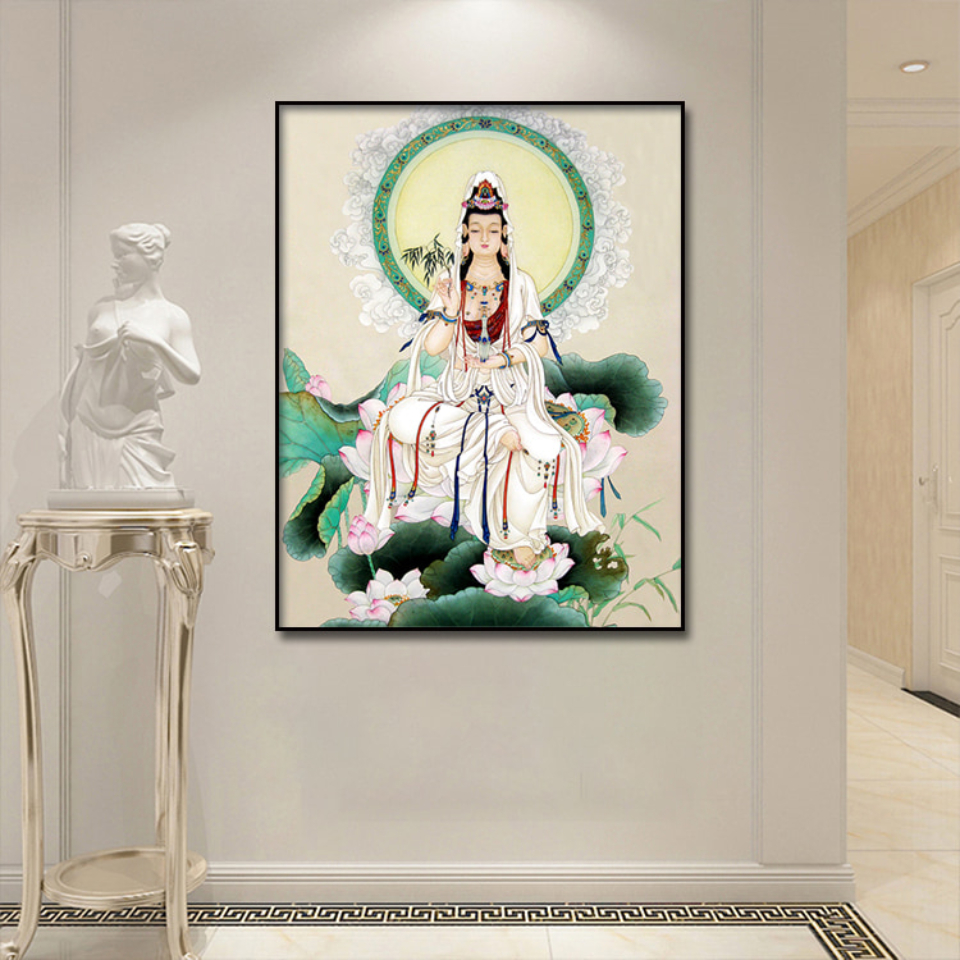 Gongbi Guanyin Buddha Statue Canvas Poster  Wall Art Print Modern  Painting Nordic Kid Bedroom Decoration Picture (3)