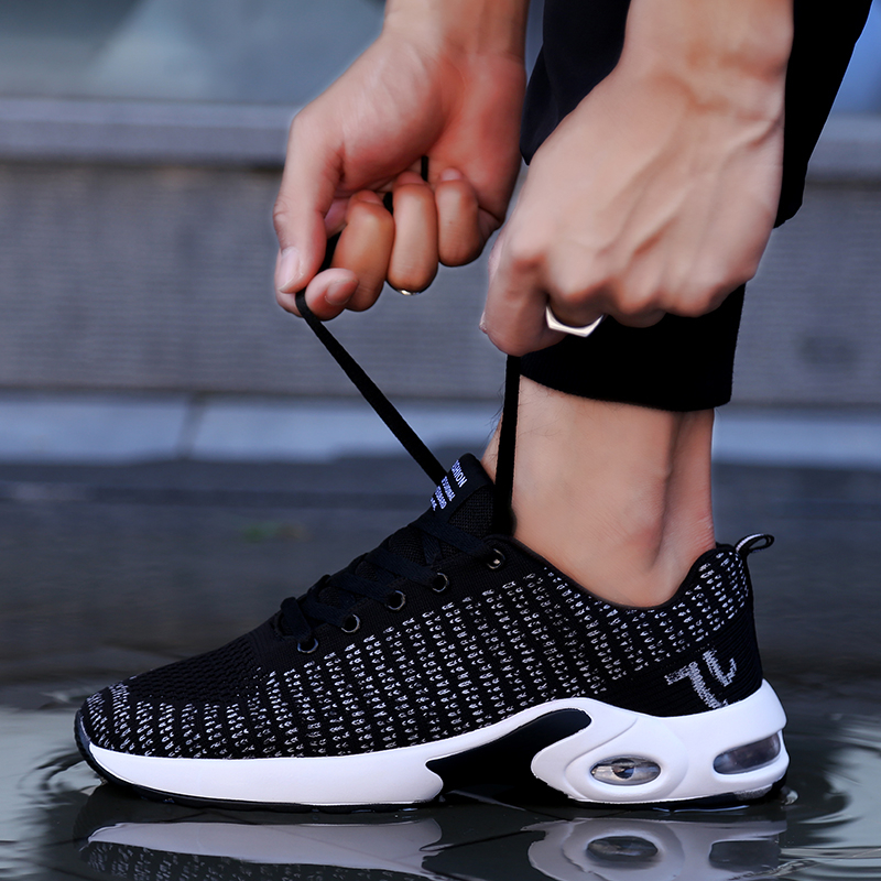 Couple Ultra Light Air Cushion Running Shoes Men Women Sneakers Breathable Mesh Soft Stripe Sport Shoes Jogging Fitness Trainers