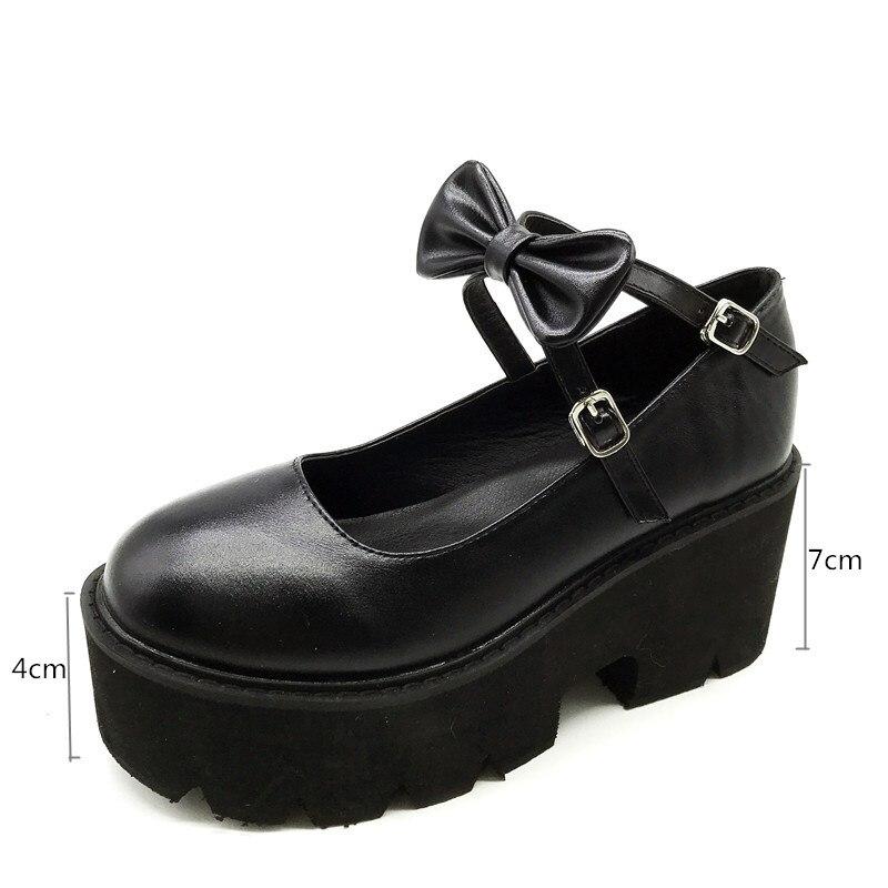Image 4 - YMECHIC 2020 New Cross Strap Bowtie Harajuku Punk Party Lolita Mary Jane Ladies Shoes with High Heels Black Platform Women PumpsWomens Pumps   -