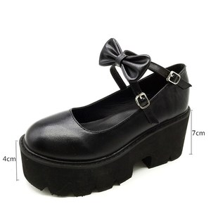 Image 4 - YMECHIC 2020 ニュークロスストラップボウタイ原宿パンクパーティーロリータメアリージェーン女性の靴ハイヒール黒プラットフォーム女性パンプス