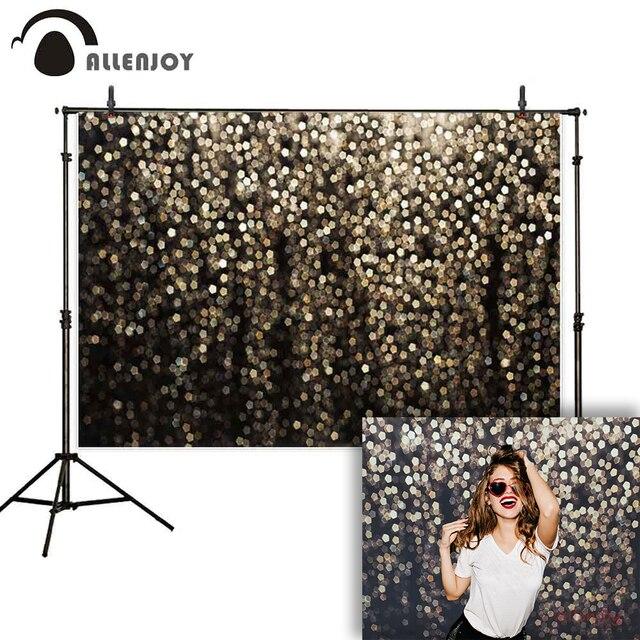 Allenjoy photography backdrop black gold glitter bokeh shiny photo background studio party selfie wedding photophone photocall