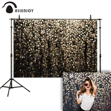 Allenjoy 写真の背景ブラックゴールドグリッターボケ光沢のある写真の背景スタジオパーティー selfie 結婚式 photophone photocall