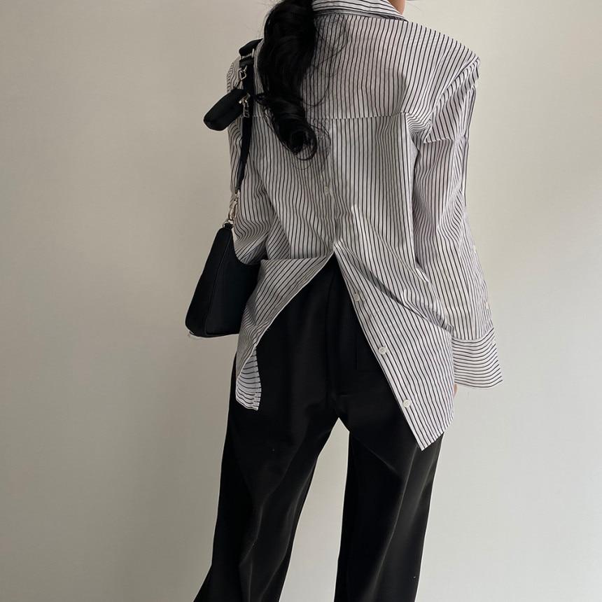 H818a76cb94ca4e39b40f0aabbc6f2b77v - Spring / Autumn Turn-Down Collar Long Sleeves Back Slit Loose Striped Blouse