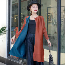 Trench Coat Women Plus Size 2019 Autumn New Stretch Miyake Pleated Cardigan Two-