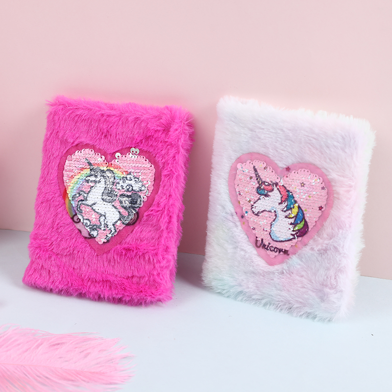 Sequins Heart A6 Portable Notebooks For Students Soft Fur Hard Cover Women Planner Agendas Girls Gift