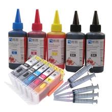 Cartucho recarregável para canon pgi470, ts5040 ts6040 ts 5040 ts, 6040 pixma, 5 cores, chip tinta completa
