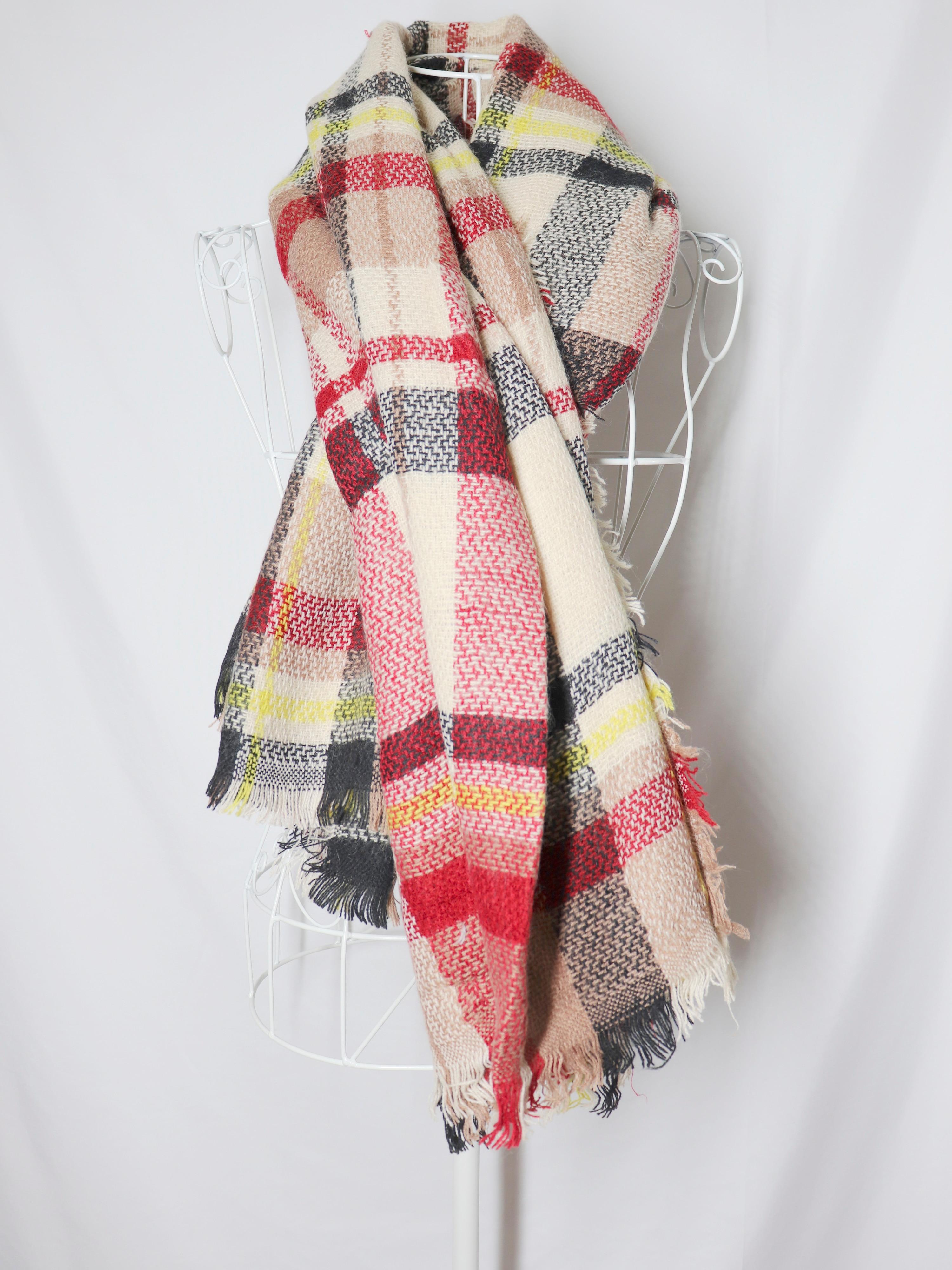 Новый стильный кашемировый клетчатый шарф, модный теплый шарф с бахромой, шаль на осень и зиму