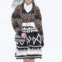Fashion Runway Cardigan 2019 Autumn Winter V Neck Pattern Jacquard Knitted Cardigan Luxury Women Sweater Fashion Knitwear Coat