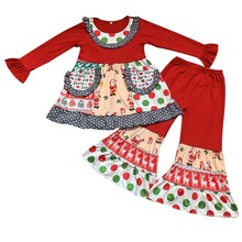 Children girls christmas baby clothes outfits santa top with pants children kids boutique clothing