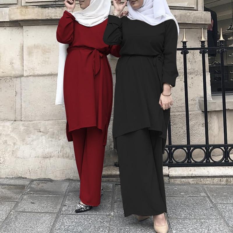 Abaya Dubai Muslim Tops Ensemble Femme Musulmane 2 Pieces Pantalon Oman Pakistan Turkish Islamic Clothing Women Hijab Dress Set