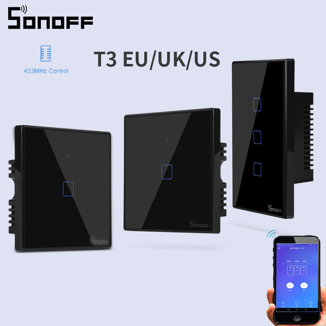 SONOFF TX T3 EU/UK/US Smart Wall Touch Switch 1/2/3 Gang 433mhz RF Wifi/Voice Remote Control Smart Switch Work for Alexa/Google